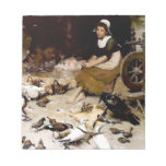Girl raven black crow doves antique painting. memo note pad