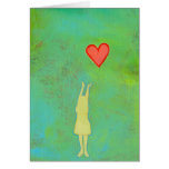 Girl reaching or letting go heart whimsical art cards