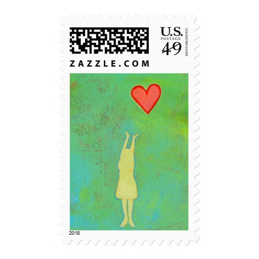 Girl reaching or letting go heart whimsical art postage stamp