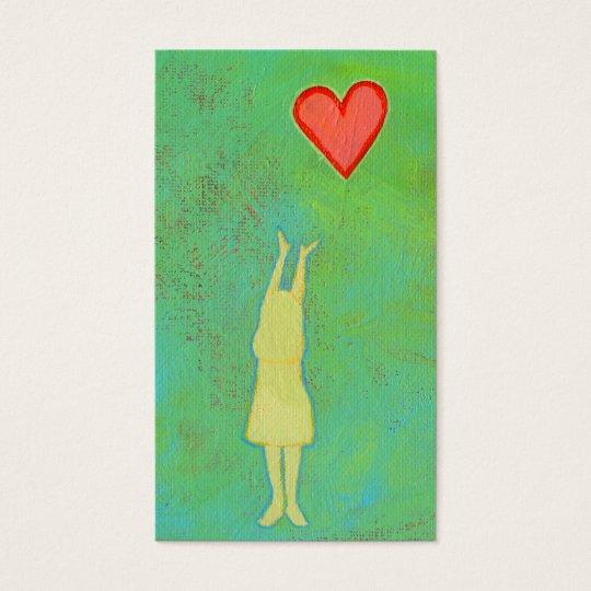 Girl reaching sweet hopeful art fun girly painting business card