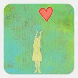 Girl reaching sweet hopeful art fun girly painting sticker