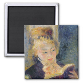 Girl Reading, 1874 2 Inch Square Magnet