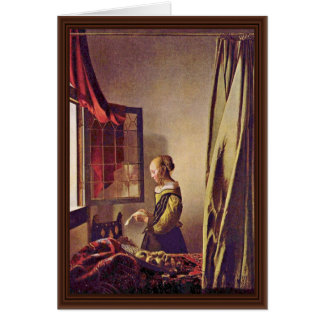 Girl Reading A Letter At An Open Window,  By Verme Card