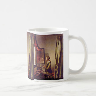 Girl Reading A Letter At An Open Window,  By Verme Classic White Coffee Mug