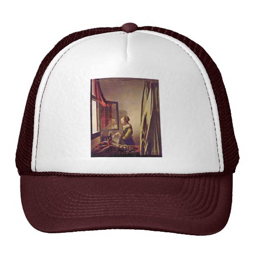 Girl Reading A Letter At An Open Window,  By Verme Trucker Hat