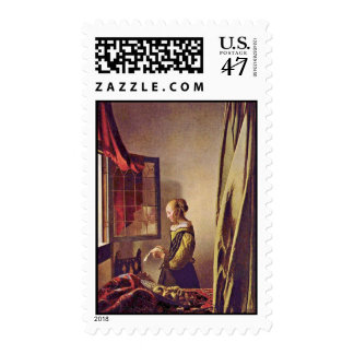 Girl Reading A Letter At An Open Window,  By Verme Postage