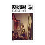Girl Reading A Letter At An Open Window,  By Verme Postage Stamp
