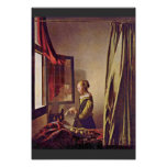 Girl Reading A Letter At An Open Window,  By Verme Posters