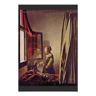Girl Reading A Letter At An Open Window,  By Verme Poster