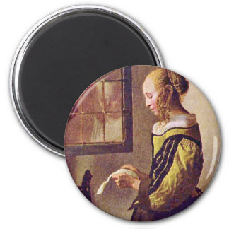 Girl Reading A Letter At An Open Window 2 Inch Round Magnet
