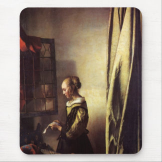 Girl Reading A Letter At An Open Window Mouse Pad