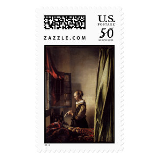 Girl Reading a Letter at an Open Window Postage