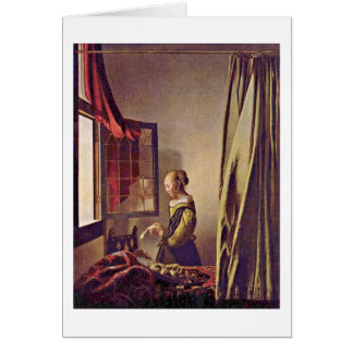 Girl Reading A Letter By Johannes Vermeer Greeting Card