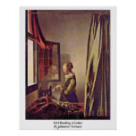 Girl Reading A Letter By Johannes Vermeer Posters