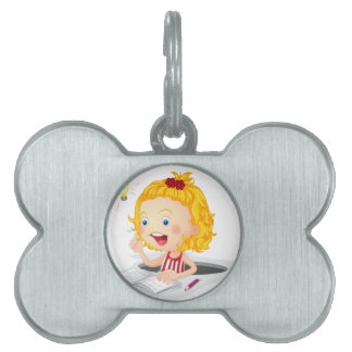 girl reading book pet name tags