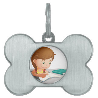 girl reading book pet tags