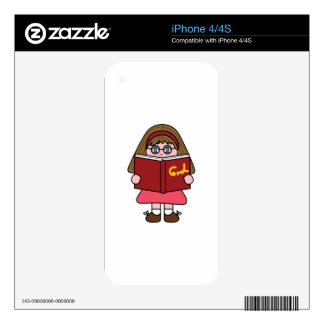 GIRL READING BOOK DECALS FOR iPhone 4S
