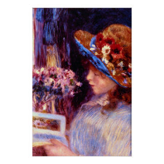 Girl Reading by Pierre Renoir Posters