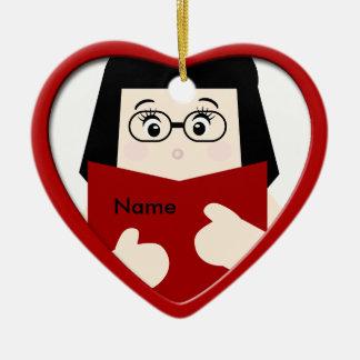 Girl Reading Christmas Heart Ornament 2