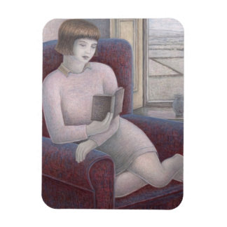 Girl Reading in Armchair 2009 Magnet