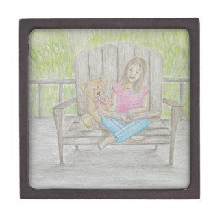 girl reading jewelry box