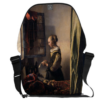 Girl Reading Letter at Open Window by Vermeer Courier Bag