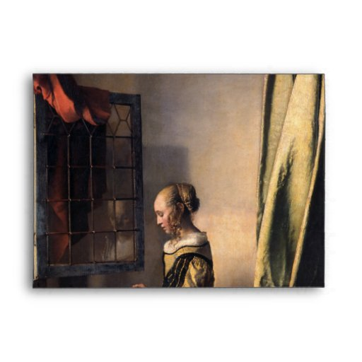girl reading a letter at an open window reading letter at open window by vermeer envelope 21954