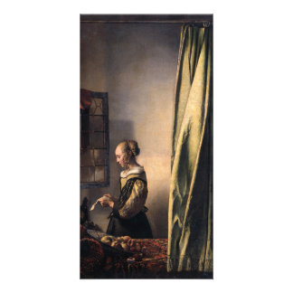 Girl Reading Letter at Open Window by Vermeer Custom Photo Card