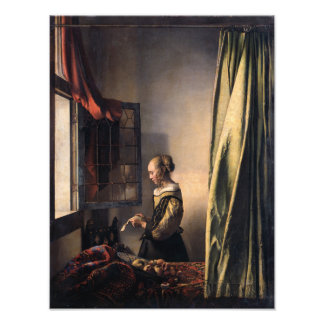 Girl Reading Letter at Open Window by Vermeer Photo Print
