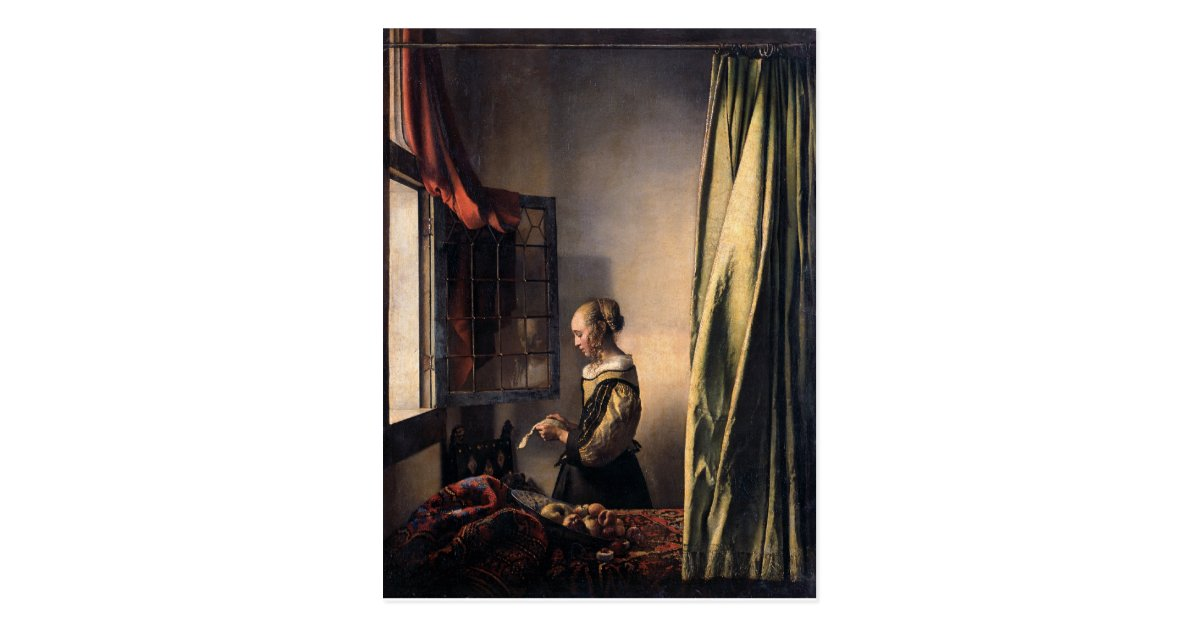 girl reading a letter at an open window reading letter at open window by vermeer postcard 21954