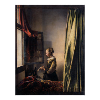 Girl Reading Letter at Open Window by Vermeer Poster