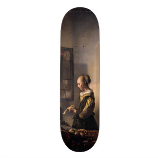 Girl Reading Letter at Open Window by Vermeer Skateboard Deck