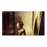 Girl Reading Letter at Window by Johannes Vermeer Business Card