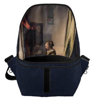 Girl Reading Letter by Vermeer Inside Print Messenger Bag