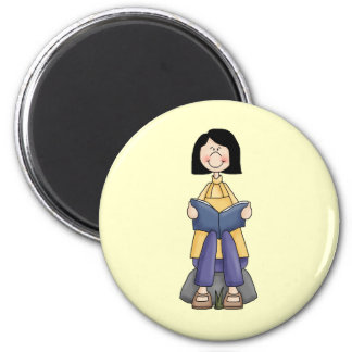 Girl Reading 2 Inch Round Magnet