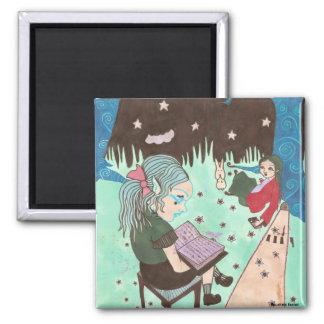 girl reading night stars magnet