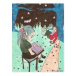 girl reading night stars postcard
