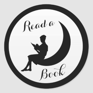 Girl Reading on the Moon Classic Round Sticker
