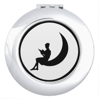 Girl Reading on the Moon Compact Mirrors