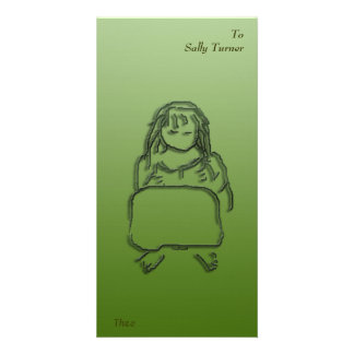 Girl Reading Photo Card