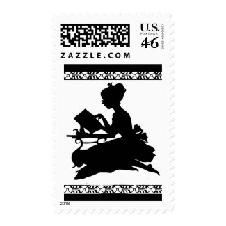 Girl Reading Silhouette stamp