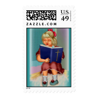 Girl Reading the Bible Postage