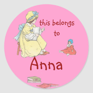 Girl reading to Doll Rounded Bookplate Sticker