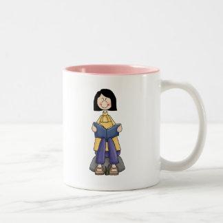 Girl Reading Two-Tone Coffee Mug