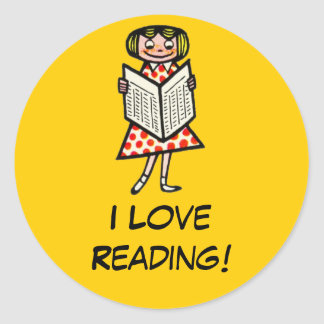 Girl Reading Yellow Encouragment Support Books Classic Round Sticker