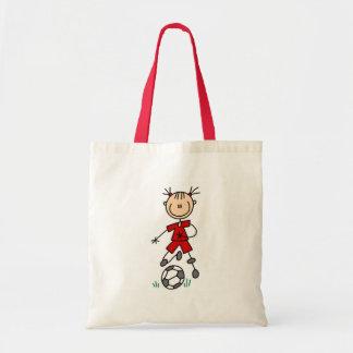 Girl Red Soccer Uniform Tote Bag