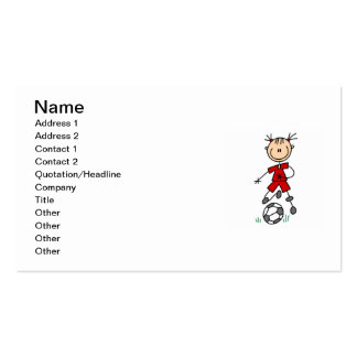 Girl Red Uniform Stick Figure Soccer Player Gifts Business Card Templates