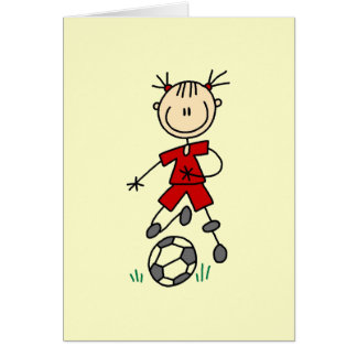 Girl Red Uniform Stick Figure Soccer Player Gifts Card