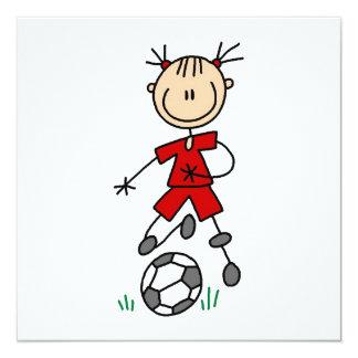 Girl Red Uniform Stick Figure Soccer Player Gifts Custom Invites