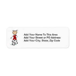 Girl Red Uniform Stick Figure Soccer Player Gifts Label